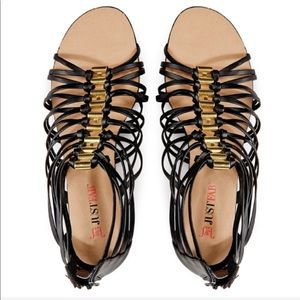 JUSTFAB Black and Gold Callista Sandals! Size 10.